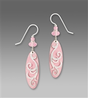 Adajio Earrings - Delicate Pink Oval Drop with Ribbons Overlay