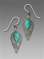 Adajio Earrings - Shiny Black Hematite Tone Inverted Teardrop with Turquoise Cabochon