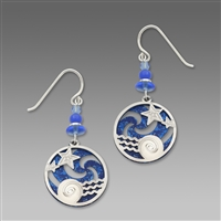 Adajio Earrings - Ocean Blue Pinwheel with Stars Over Water Overlay