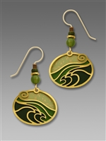 Adajio Earrings - Moss Green with Gold Tone Plate Waves Overlay