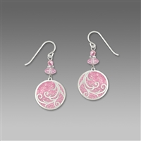 Adajio Earrings - Baby Pink Disc with Tendrils Overlay & Beads