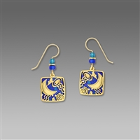 Adajio Earrings - Royal Blue Pointed Oval with Floral Overlay