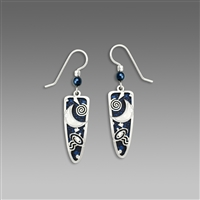 "Adajio Earrings - Midnight Blue Trowel Shape with Shiny Silver Tone ""Moon"" Overlay & Beads"