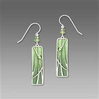 Adajio Earrings - Pistachio Green Column With Silver 'Reeds' Overlay