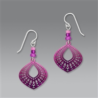 Adajio Earrings - Deep Magenta 'Moroccan' Teardrop Filigree