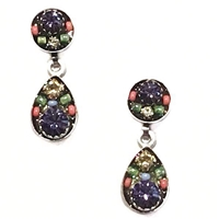 Firefly Earrings-Sparkling Drop Post-Tanzanite Color