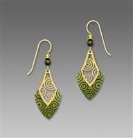 Adajio Earrings - Peridot & Pine Open Necktie with Gold Plated Circles Overlay