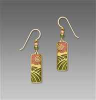 Adajio Earrings - Sunset Coral & Olive Column with Gold Plated 'Fields' Overlay & Beads