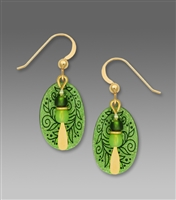 Adajio Earrings - Apple Green Berries & Vines Etched Oval with Bead Drop