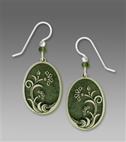Adajio Earrings - Light Pine Oval with Moss Art Nouveau Flower Filigree Overlay