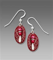 Adajio Earrings - Cranberries & Vines Etched Oval with Bead Drop