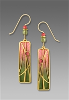 Adajio Earrings - Olive & Sunset Pink Column with 'Reeds' Overlay
