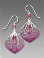 Adajio Earrings - Open Fuchsia & Silver Filigree Teardrop With Bead