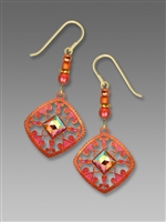 Adajio Earrings - Bright Bronze & Coral Filigree with Faceted Square Cabochon