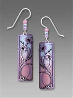 Adajio Earrings - Lavender Daisies with Pink to Blue Ombre Column
