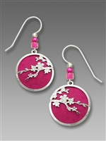 Adajio Earrings - Silver Tone Cherry Blossoms Over Deep Fuchsia Disk
