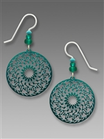 Adajio Earrings-Iridescent Teal Geometric Zigzag Disk