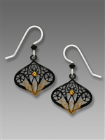 Adajio Earrings - Black Moroccan Filigree Drop with Topaz Lotus Design & Topaz Crystal Rhinestone
