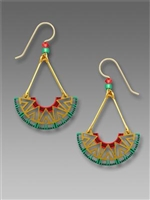 Adajio Earrings - Geometric Half Circle in Coral, Gold & Turquoise