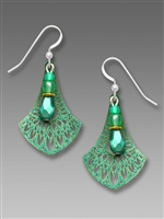 Adajio Earrings - Glittering Teal Filigree Drop with Center Beads