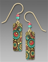 Adajio Earrings - Tan Column with Circle Pattern in Turquoise & Salmon