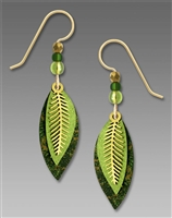 Adajio Earrings - Three-Part Green & Brass Leaves