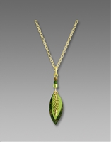 Adajio Necklace - Three-Part Green & Brass Leaves