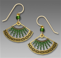 Adajio Earrings - Green & Gold Fan with Curved Bolts
