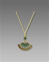Adajio Necklace - Green & Gold Fan with Curved Bolts