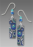 Adajio Earrings - White Column with Turquoise & Blue Circles