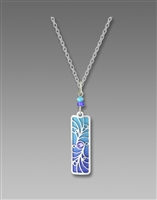 Adajio Pendant - Periwinkle Column with Shiny Silver Tone Overlay & Beads