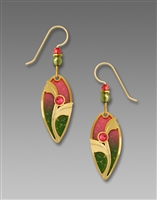 Adajio Earrings - Sunset Ombre Teardrop with Shiny Gold Plate Brass Overlay