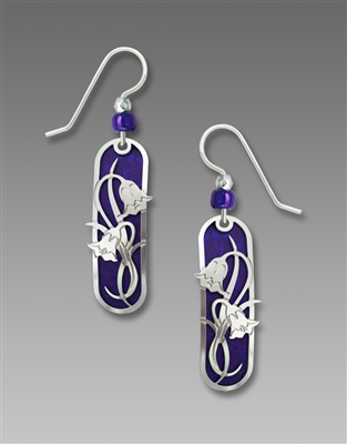 Adajio Earrings - Violet Capsule with Shiny Silver Tone Nouveau Floral Overlay