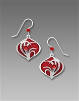 Adajio Earrings - Brilliant Red Teardrop with Shiny Silver Tone Reeds Overlay