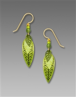 Adajio Earrings - Three-Part Slender Leaves in Bright Spring Green