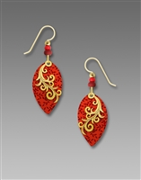 Adajio Earrings - Scarlet & Wine Leaf with Shiny Gold Plate Vine Overlay