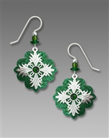 Adajio Earrings - Emerald Green Clover with Shiny Silver Tone Cross