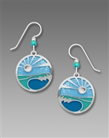Adajio Earrings - Caribbean Blues Disc with Sunrise Overlay