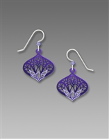 Adajio Earrings - Tanzanite & Purple Moroccan-Style Filigree Drop with Aqua Lotus Design & Beads