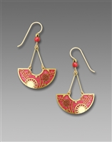 Adajio Earrings - Soft Coral Pink Arc with Gold Plated 'Celestial Swing'