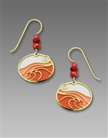 Adajio Earrings - Warm Pink Oval with Gold Plated 'Ocean Wave' Overlay