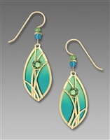 Adajio Earrings - Azure & Peridot Teardrop with Gold Plated Reeds