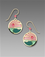 Adajio Earrings - Coral & Turquoise Sunset Disc with Gold Plated Foamy Waves Overlay
