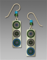 Adajio Earrings - Light Bronze Column with Etched Blue & Green Circles