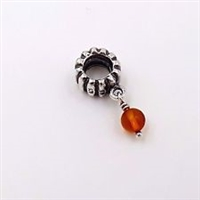 Authentic Pandora Bead -November Birthstone Dangle-Amber-RETIRED