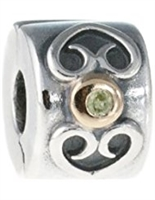 Authentic Pandora Peridot w/14k Gold Accents Clip Bead-RETIRED