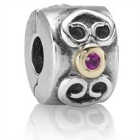 Authentic Pandora Pink Sapphire w/14k Gold Accents Clip Bead-RETIRED