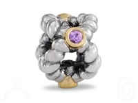 Authentic Pandora Bead-Pink Sapphires w/14k Gold Accents-RETIRED