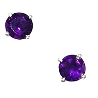 Sterling Silver Post Earrings- Round cut Amethyst
