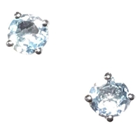Sterling Silver Post Earrings- Round cut Blue Topaz
